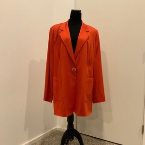 Marina Rinaldi Coral Orange Blazer w/ Jewel Button